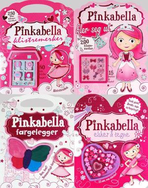 Pinkabella aktivitetspakke. 4 titler: Tegnebok, fargeleggingsbok, kle-på-bok og aktivitetsbok med klistremerker