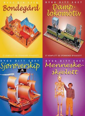 Bygg og lek. 4 titler: Alt du trenger for å bygge et menneskeskjelett, en gård, et piratskip og et damplokomotiv