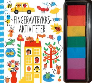Fingeravtrykksaktiviteter. Med blekkputer i flere farger til fingeravtrykk