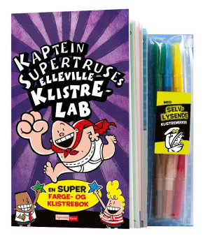 Kaptein Supertruses elleville klistrelab. En super farge- og klistrebok. Med selvlysende klistremerker. Med 6 tusjer