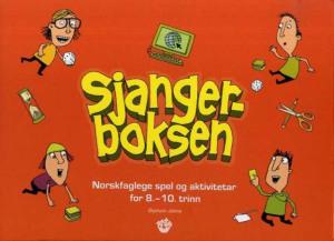 Sjangerboksen. Norskfaglege spel og aktivitetar for 8.-10. trinn. 1 ressursbok. 1 spelebrett. spelkort. 6 spelebrikker. 6 terningar. 2 timeglas. 1 CD