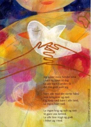 Jeg folder mine hender små. Tekst av Torbjørn Egner. 4-fargers plakat i A4-størrelse med kveldsbønn for barn