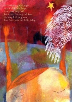 Nå lukker seg mitt øye. Tekst av Peter Thun Foersom. 4-fargers plakat i A4-størrelse med kveldsbønn for barn