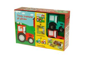 Travle traktorer på gården. 1 bok. 1 puslespill. 2 traktorer