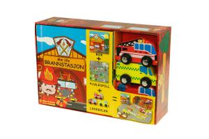 Min lille brannstasjon. 1 bok. 1 puslespill. 3 lekebiler