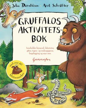 Gruffalos aktivitetsbok. Inneholder kryssord, labyrinter, gåter, tegne- og maleoppgaver, fargelegging og mye mer