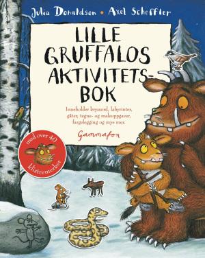 Lille Gruffalos aktivitetsbok. Inneholder kryssord, labyrinter, gåter, tegne- og maleoppgaver, fargelegging og mye mer
