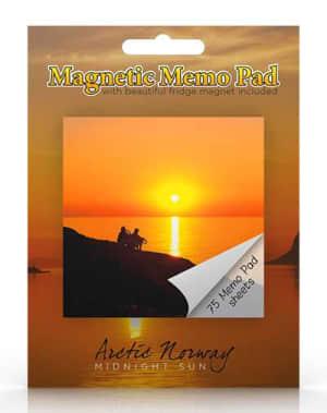 Midnattsol. Magnetisk memoblokk. Arctic Norway midnight sun
