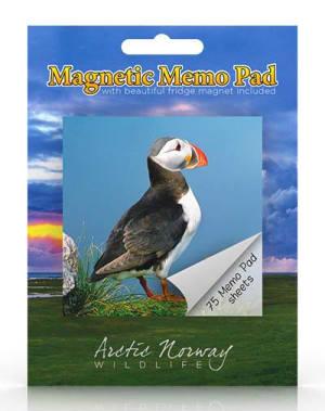 Lundefugl. Magnetisk memoblokk. Arctic Norway wildlife