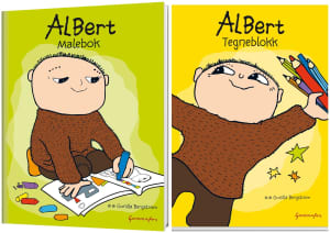 Albert malebok og tegneblokk med fargestifter