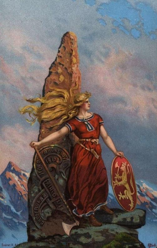 Tegning av en person med en bautastein; de står på en klippe omgitt av høye fjell. Personen er kledd som en vikingkvinne og står i sterk vind med flagrende hår. Kjolen har norske farger, og hun holder en øks og et skjold med det norske riksvåpenet. Bautasteinen har vikingmønster og inskripsjonen «Frihet, likhet og brorskap. Norges grunnlov 1814».