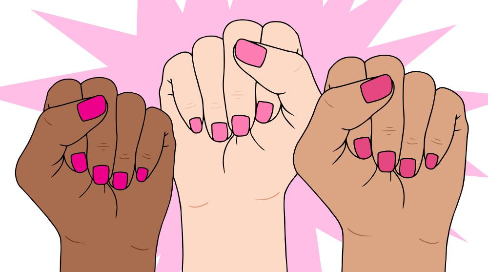 Illustrasjonsfoto som viser tre kvinnelige knyttenever. De er av forskjellig hudfarge og står hevet mot en rosa stjernebakgrunn. Tegning.