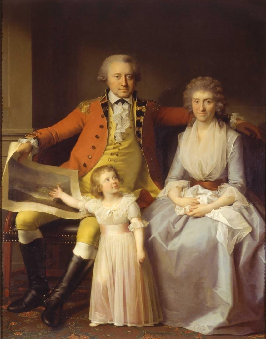 Portrettmaleri av famlien Anker. Peder Anker og kona Anna sitter ved siden av hverandre med den lille dattera Karen foran seg. Karen peker på en tegning som faren holder; den forestiller det store godset familien eier.