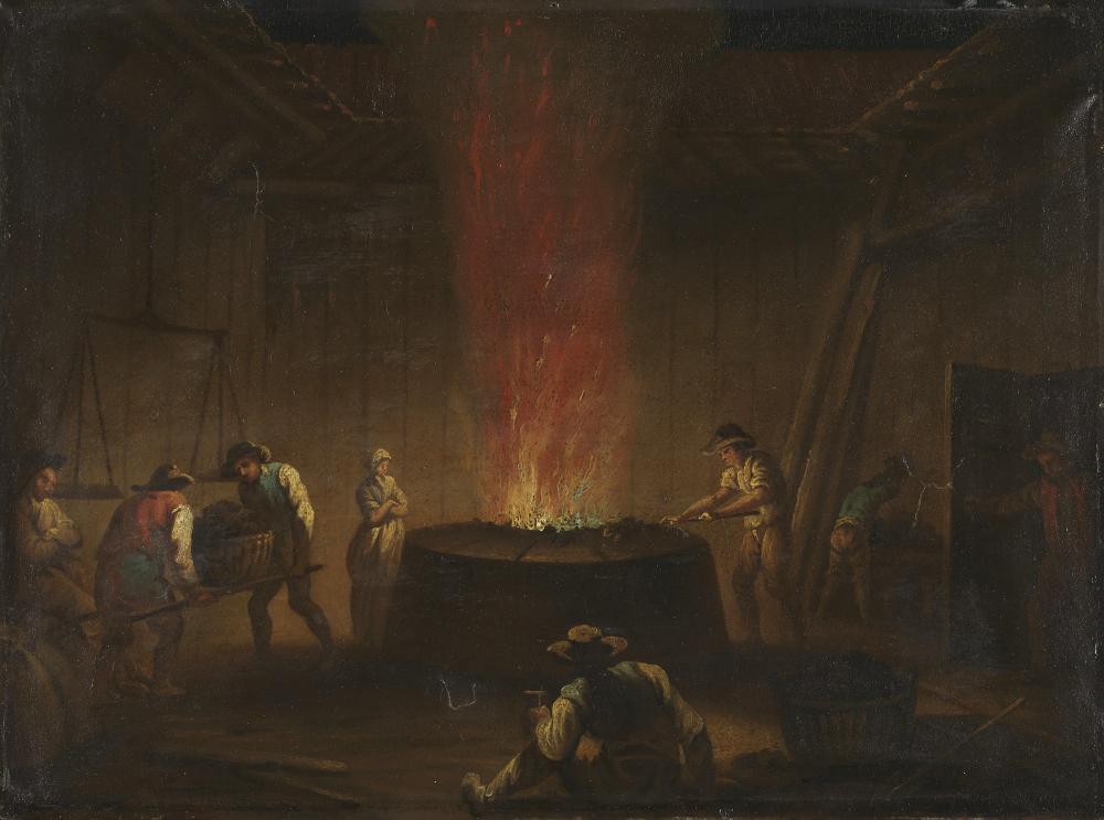Maleri fra jernverk. Midt i et stort, mørkt rom står en ovn som spyr høye flammer; der blir jernet produsert. Arbeidere går rundt og bærer jernmalm, passer ilden osv.
