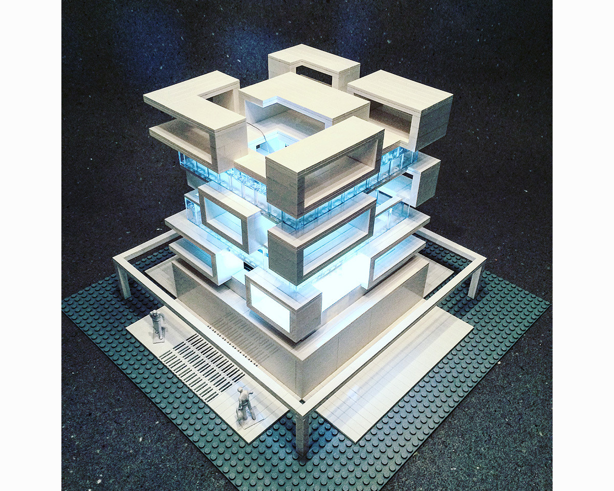 building intricate brutalist architecture with lego