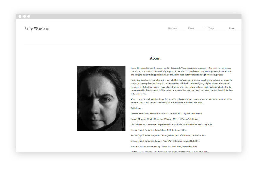 1 page biography for Photography bio template
