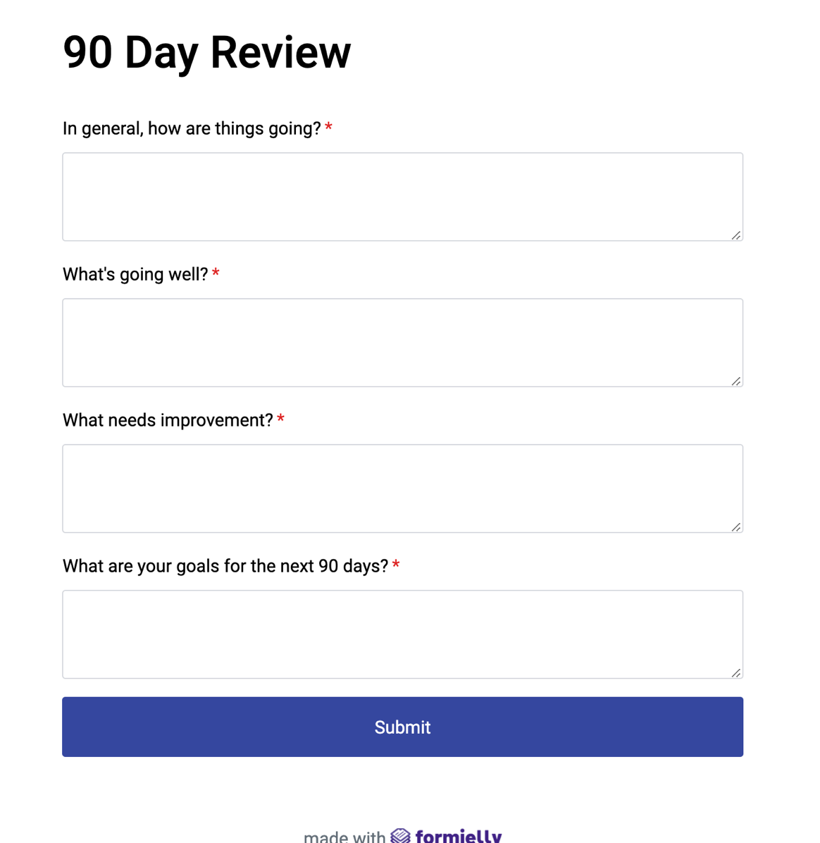 Secure anonymous feedback form for customer reviews.