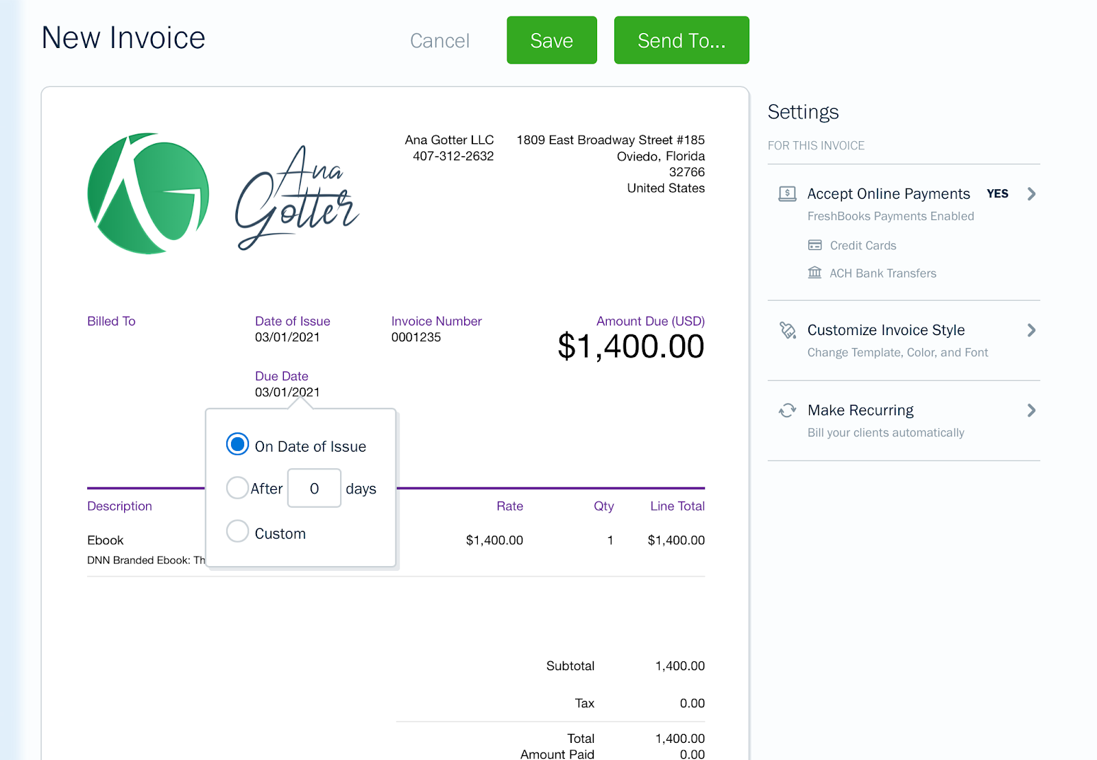 Freshbooks allows you to use templates for faster invoicing.
