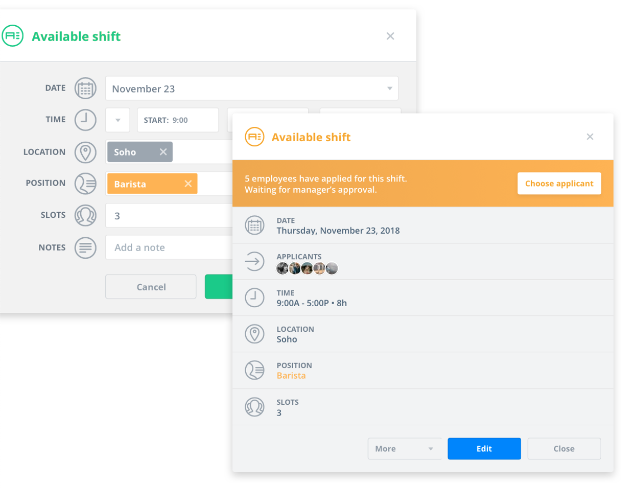 Sling's dashboard showcasing employee scheduling features.