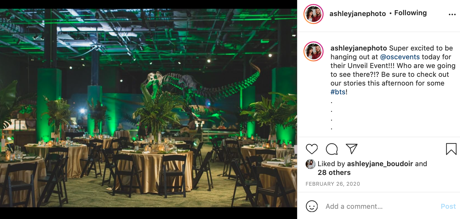 A vendor promotes a wedding event that they're attending on Instagram.
