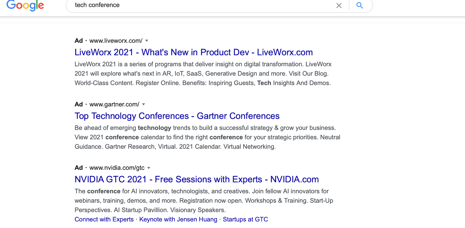 Google Ads for tech conferences, expanding reach as an event registration strategy.