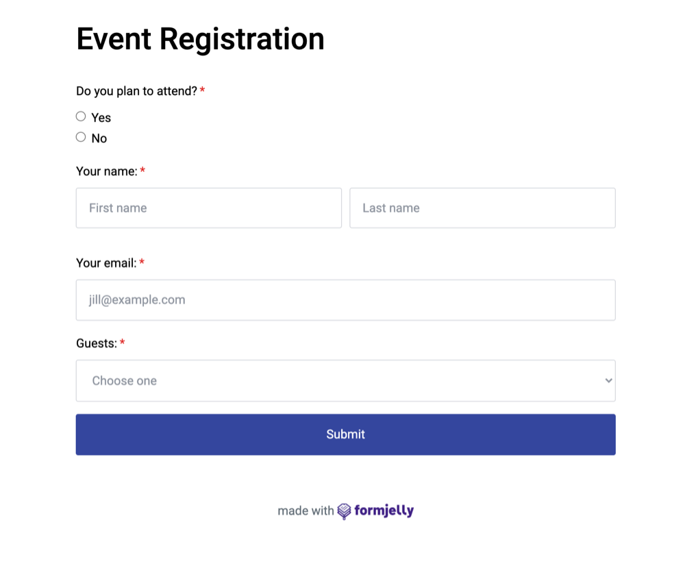 Event registration form from Formjelly.