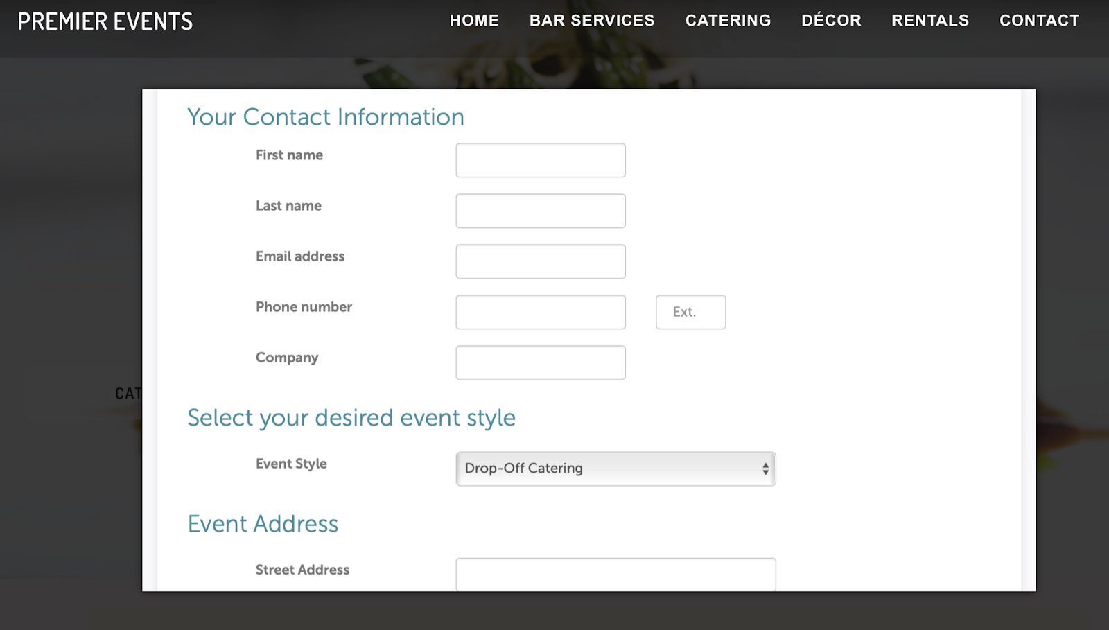 Event registration form example.