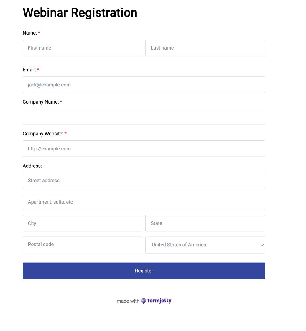 Formjelly webinar registration form template.