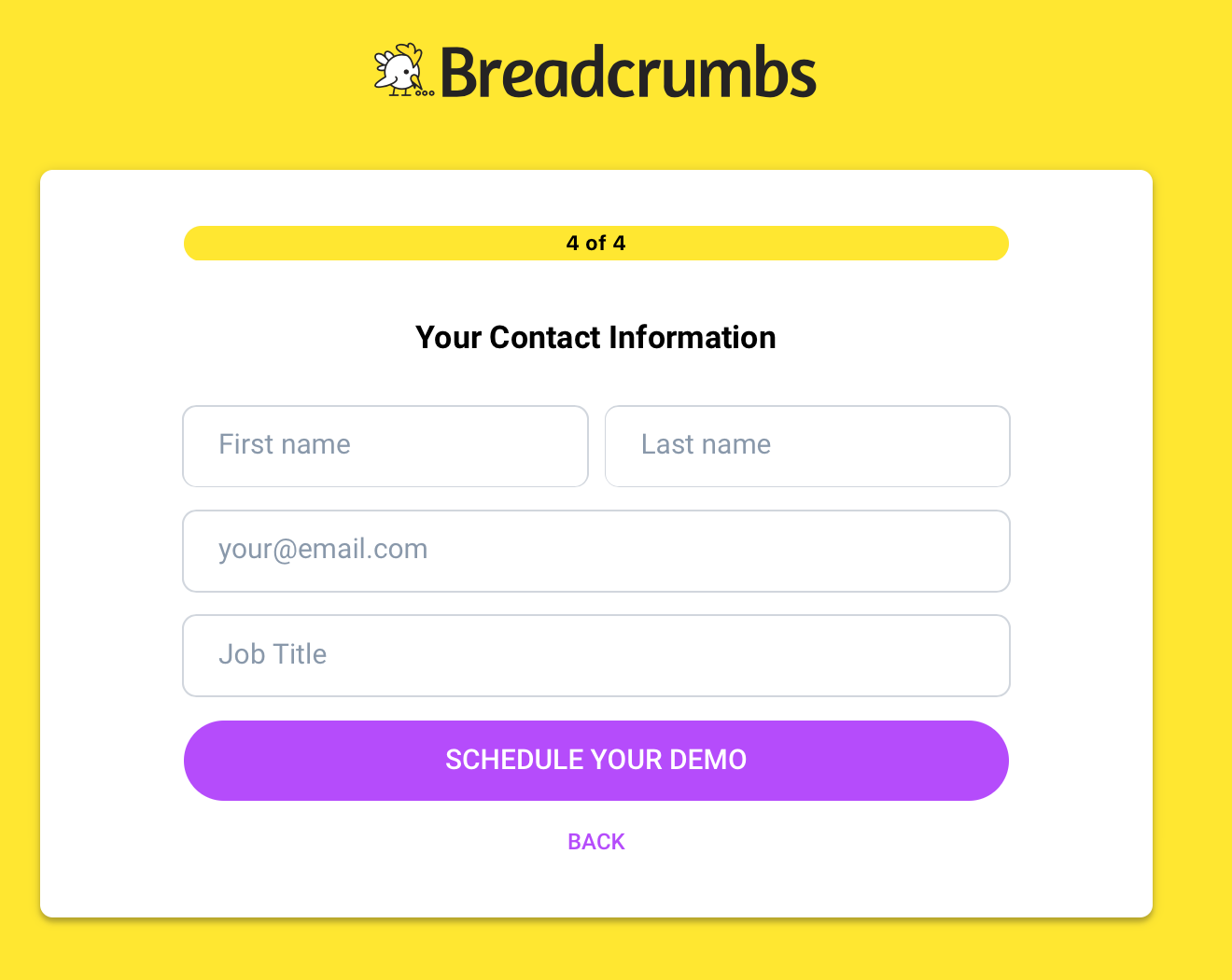 Breadcrumbs contact form.