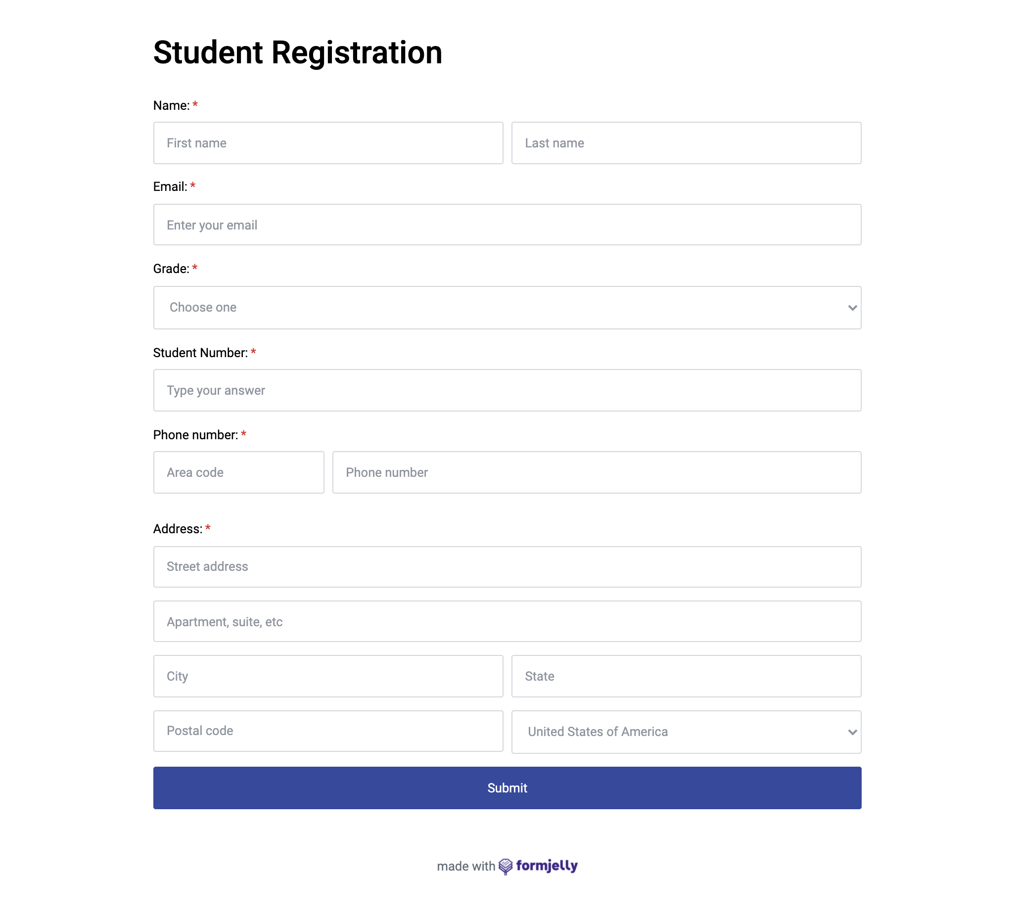 Student registration form template.