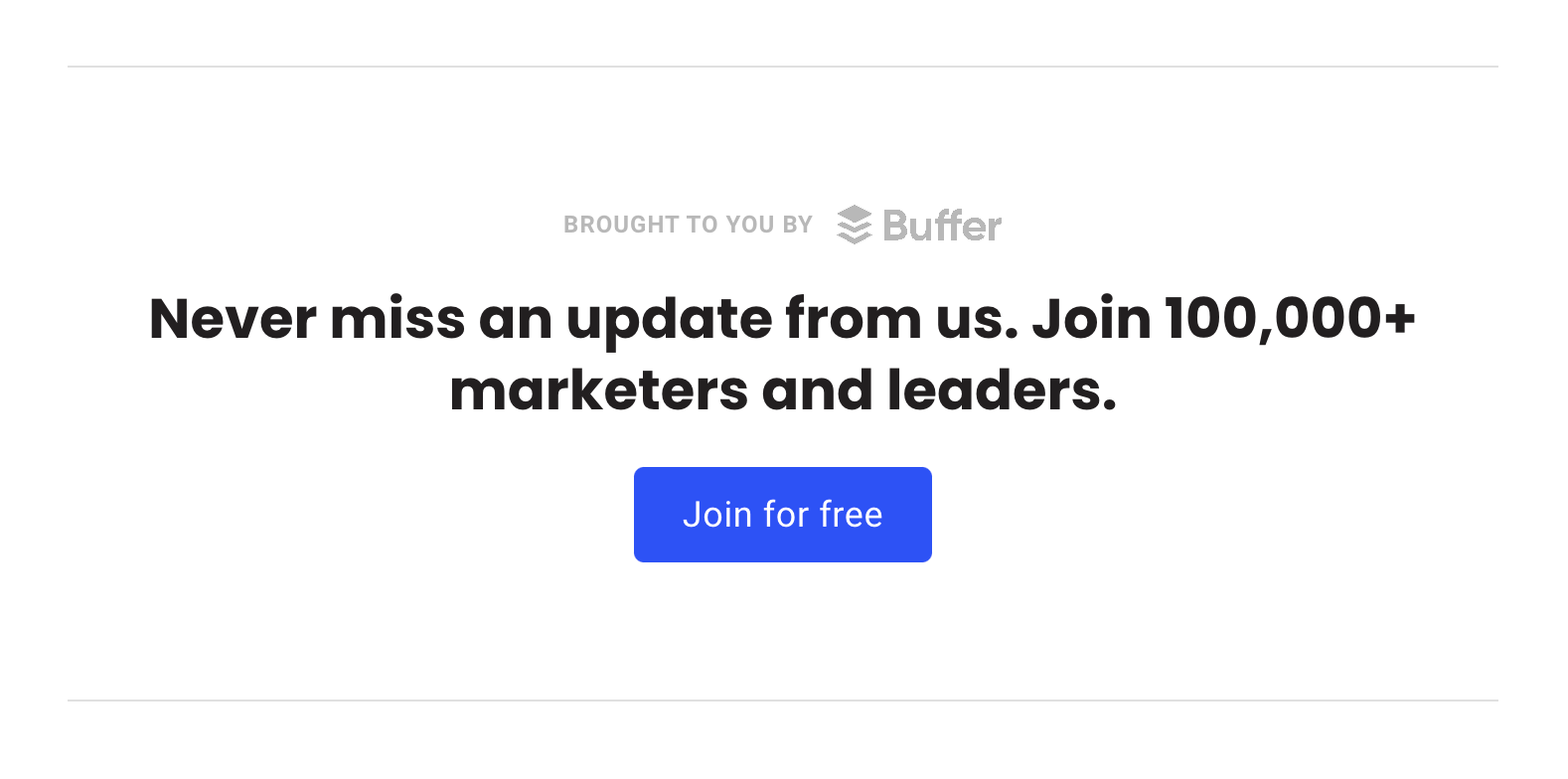 Buffer email signup call to action.