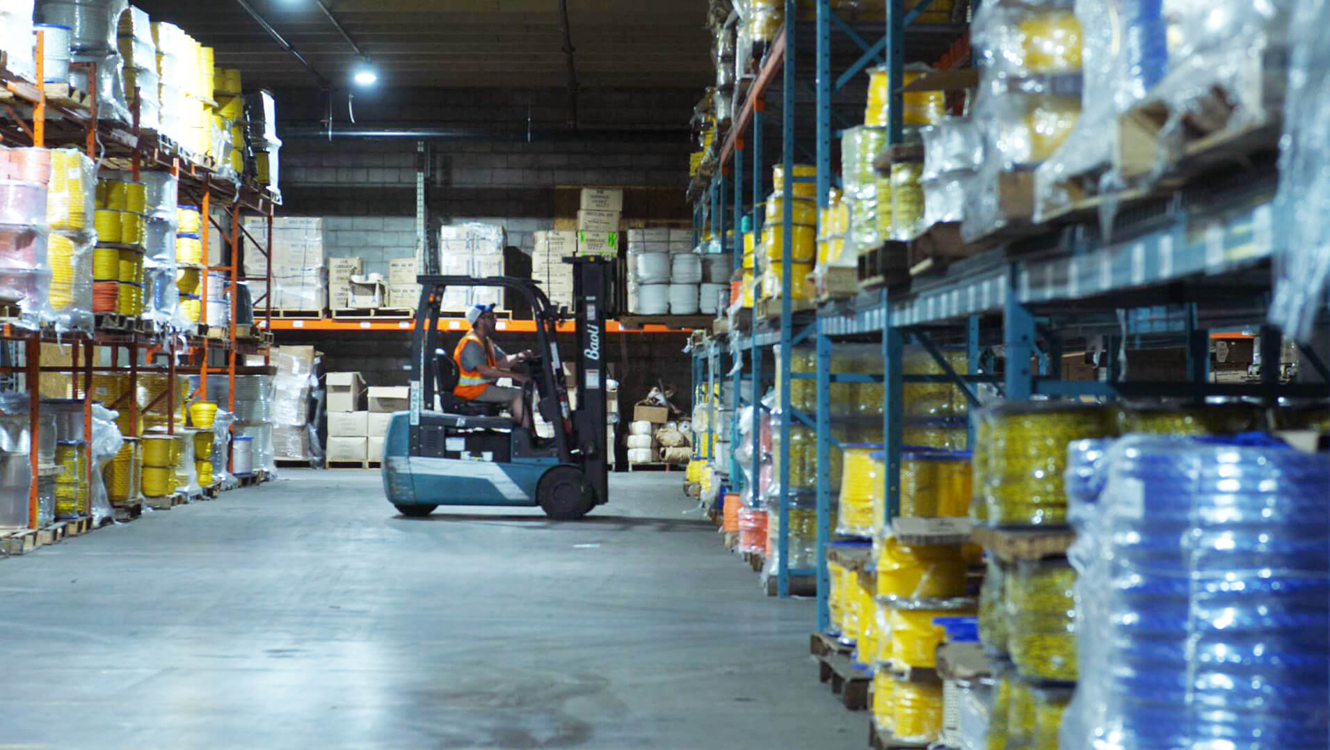 Forklift working in the Orion Cordage warehouse