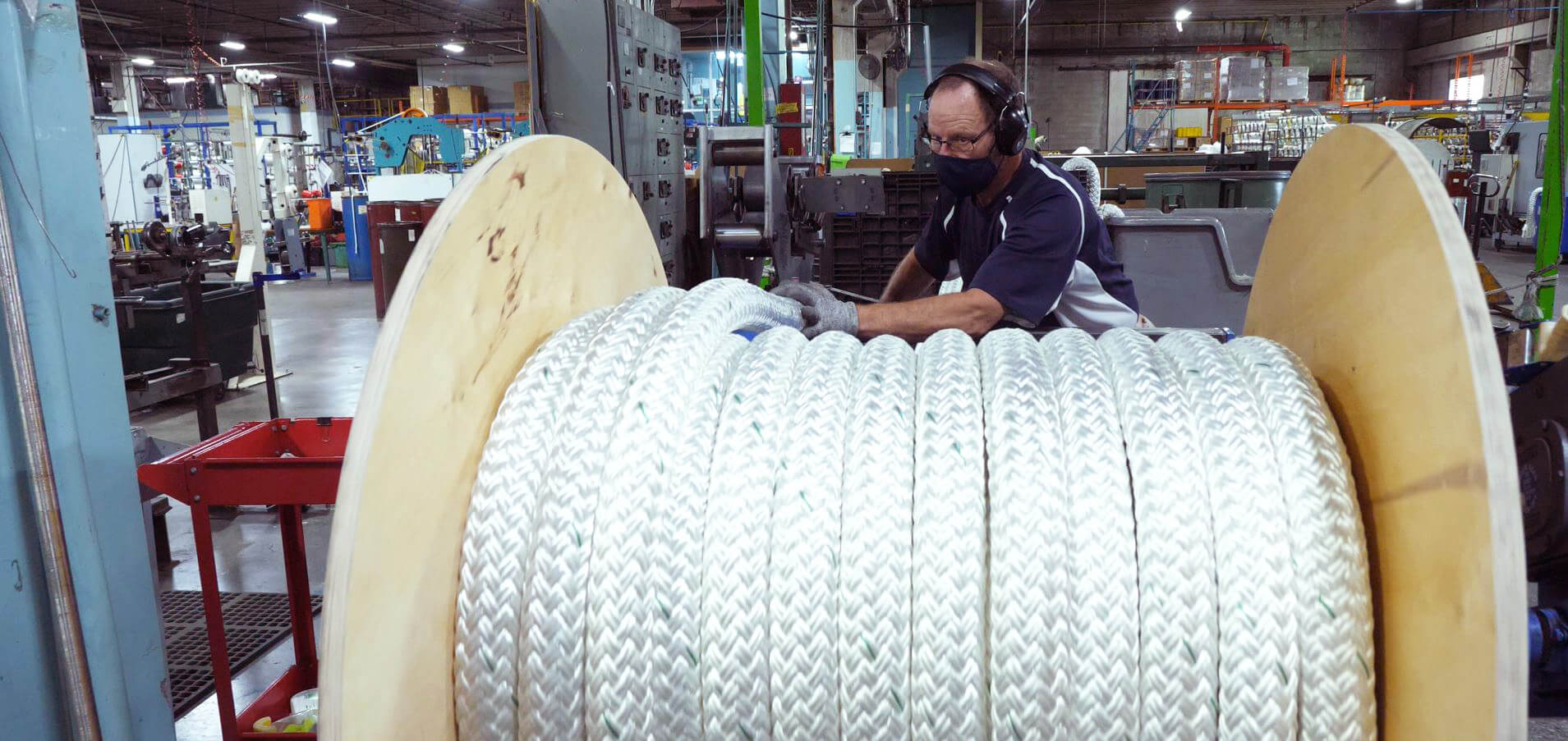 Spooling rope in the Orion Cordage warehouse