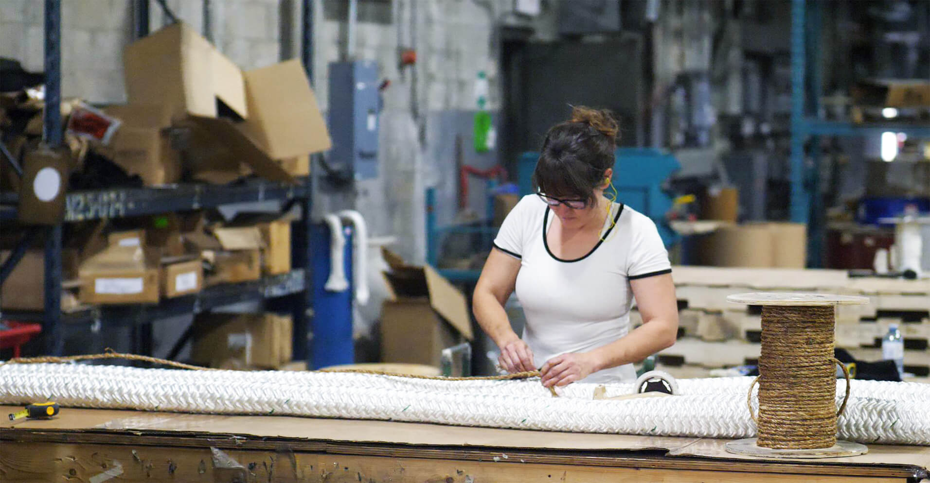 Rope being measure in the Orion Cordage warehouse