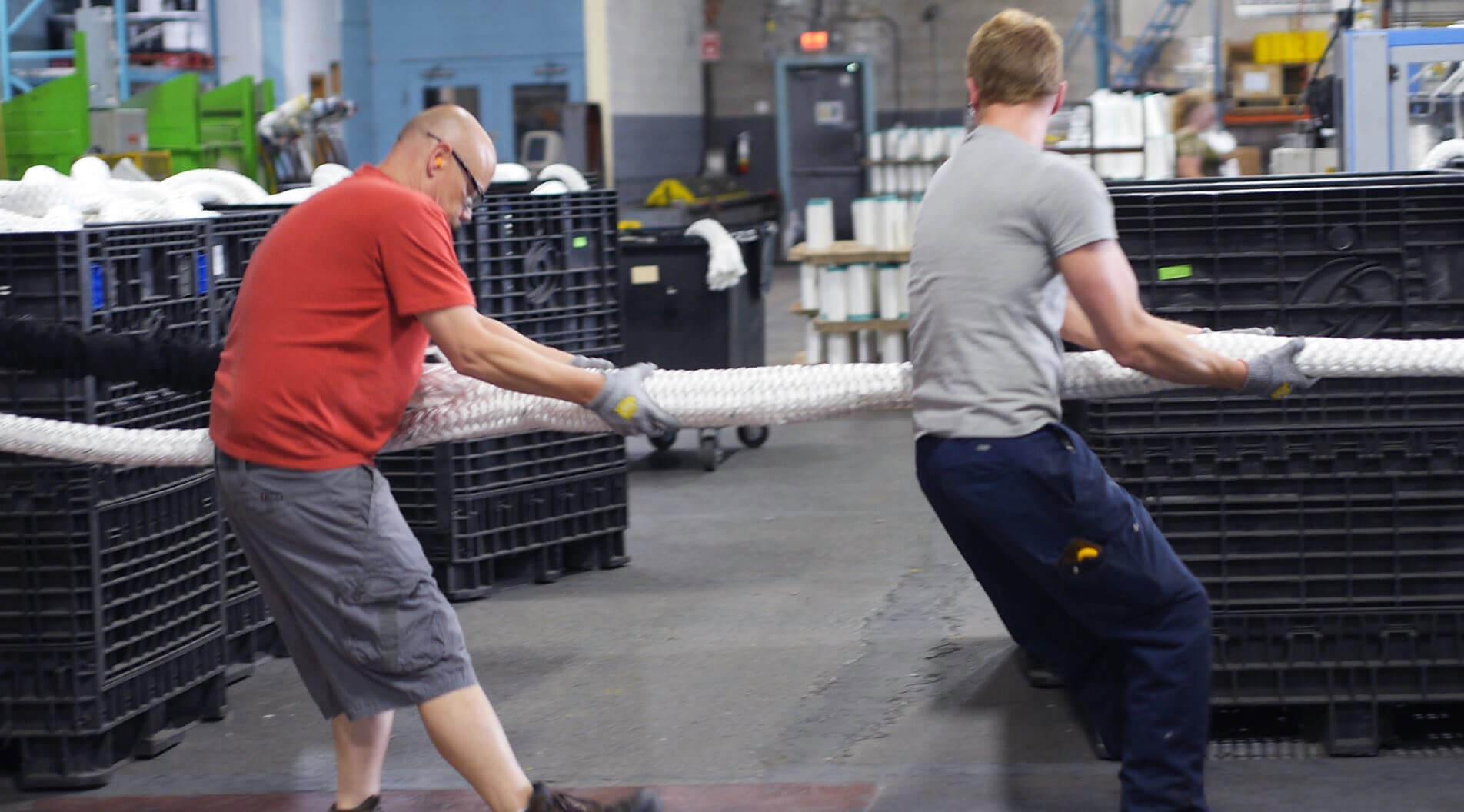 Orion Team Members pulling rope