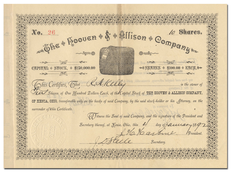 The Hooven & Allison Company Certificate