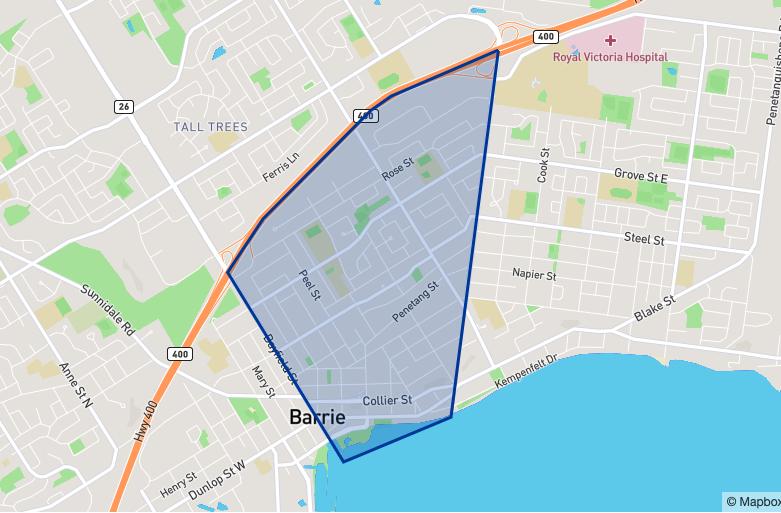 Barrie City Centre neighbourhood borders