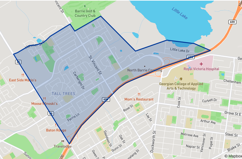Barrie North End neighbourhood borders