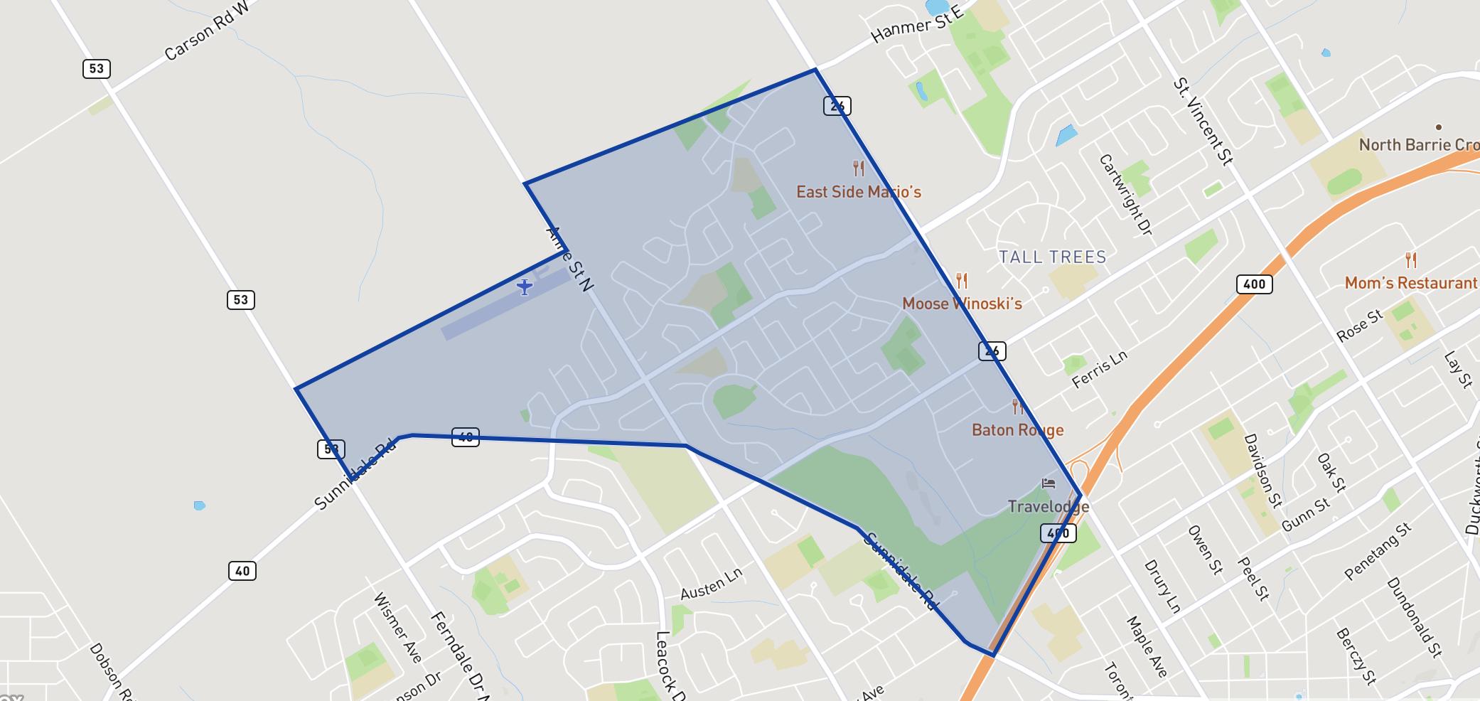 Sunnidale neighbourhood borders