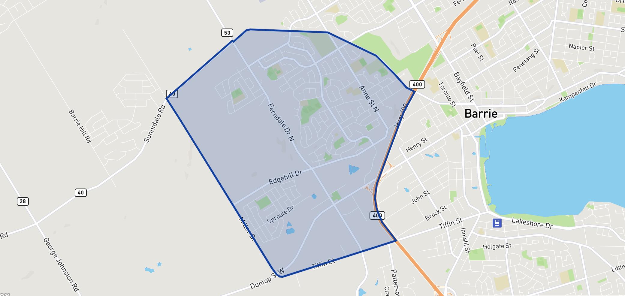 Barrie West neighbourhood borders