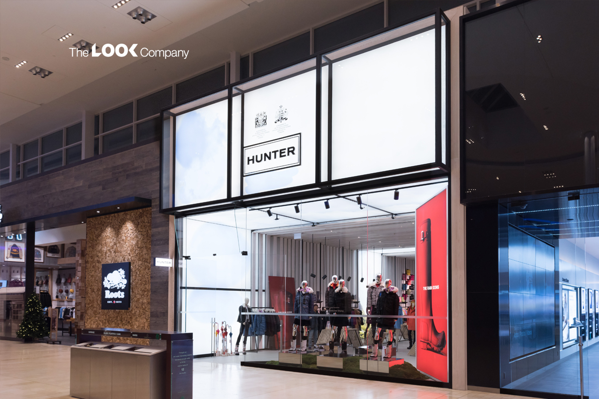 Hunter Boots Retail Environment with Lightboxes