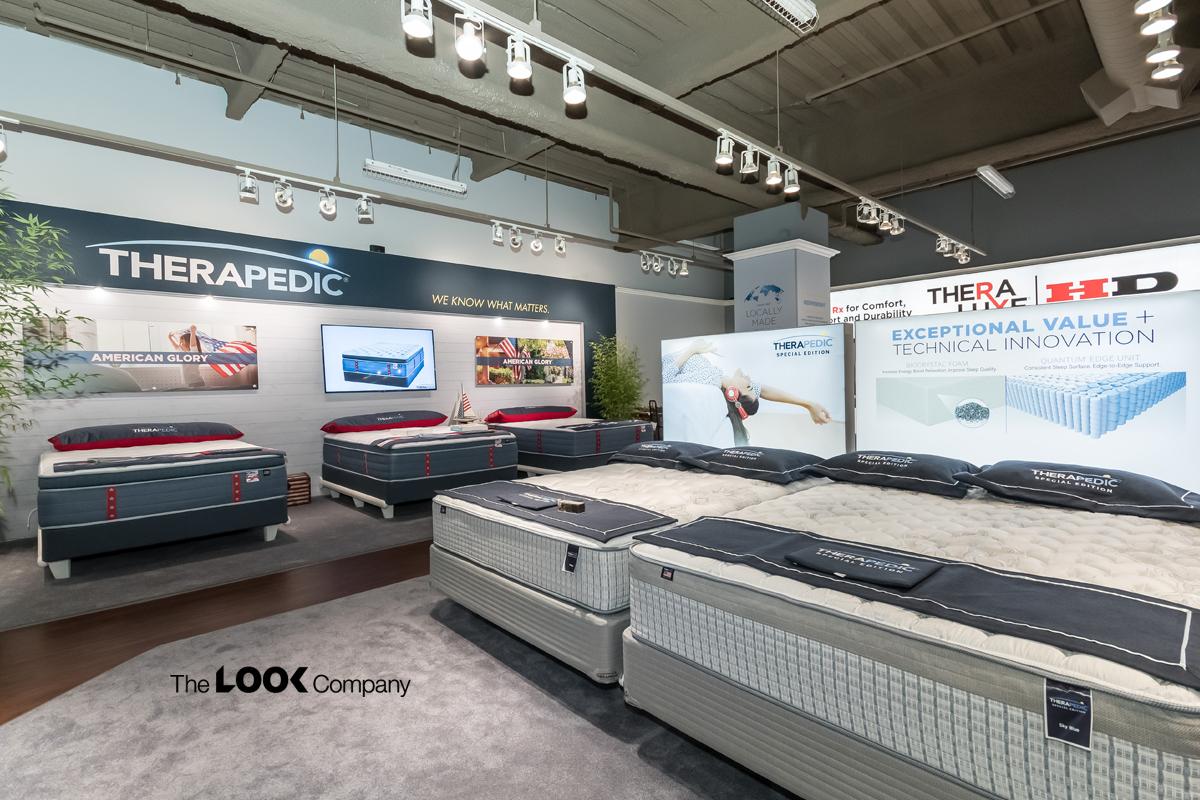 Pop up store therapedic mattress display