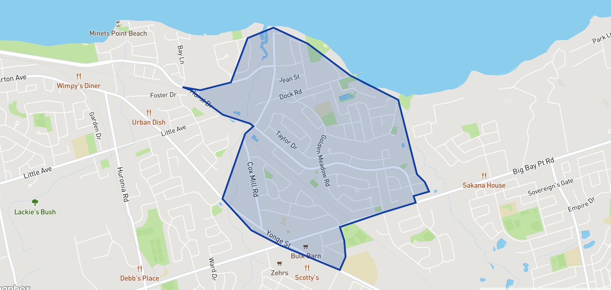 Algonquin Ridge Elementary School neighbourhood borders