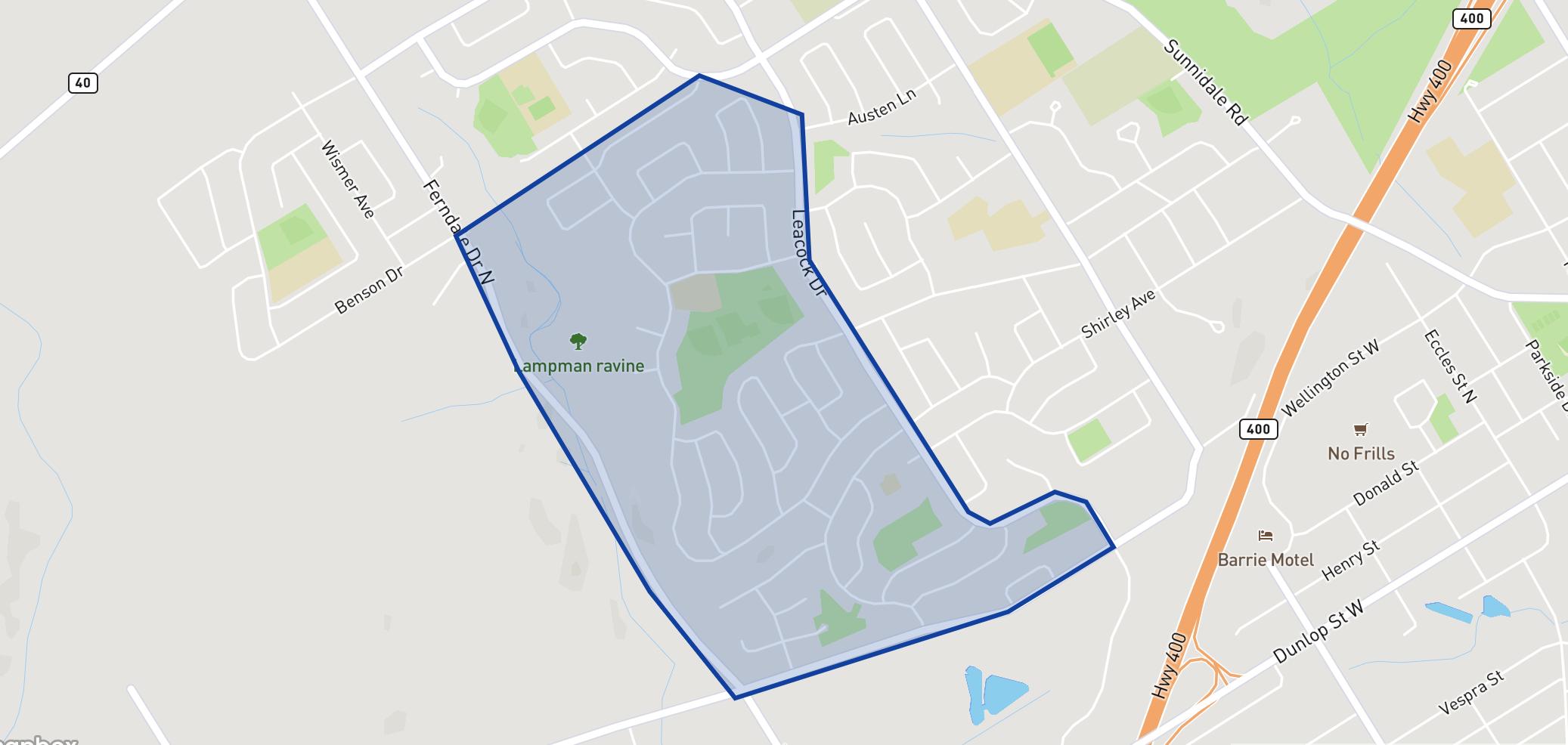 Andrew Hunter Elementary School neighbourhood borders