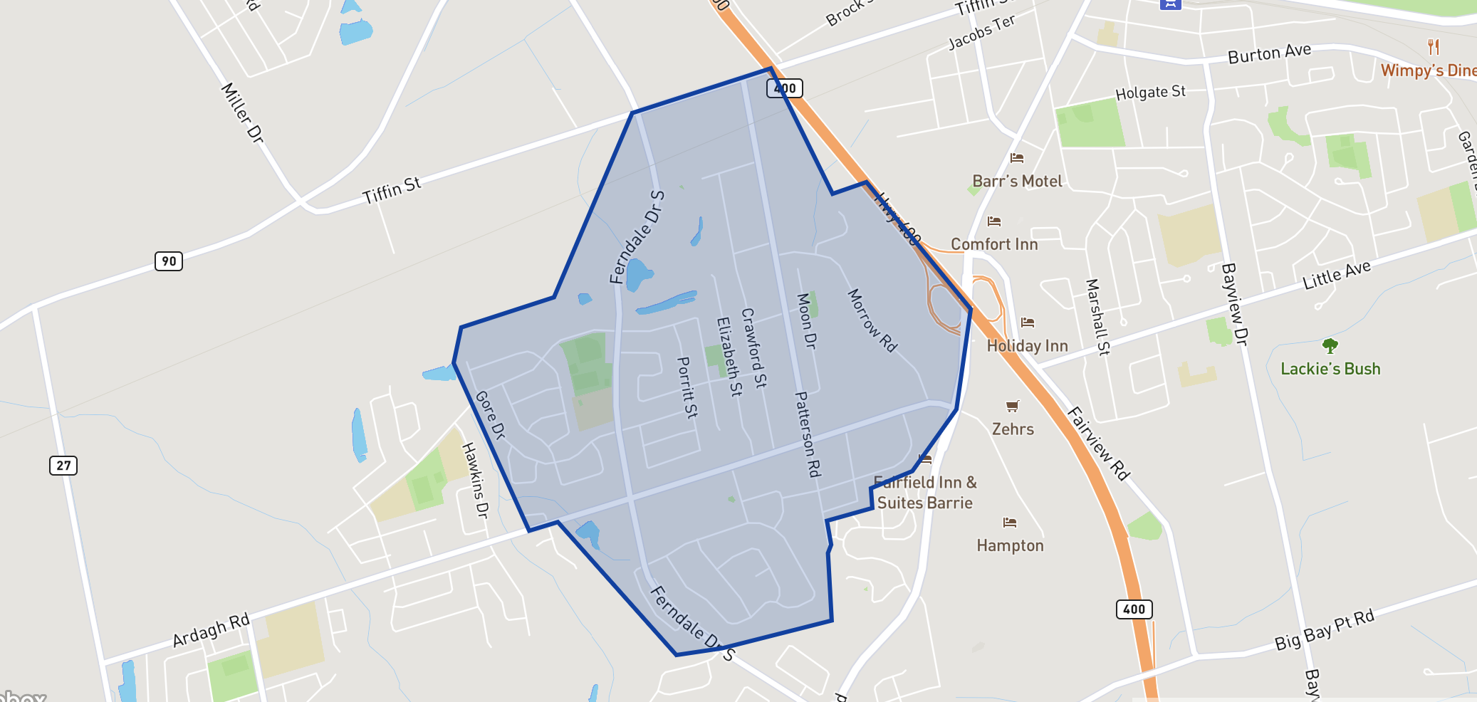 Ferndale Woods Elementary School  neighbourhood borders