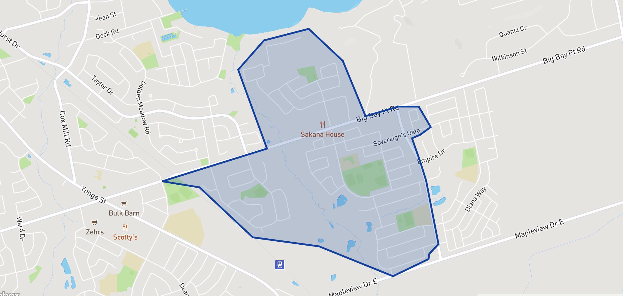 Hewitt's Creek Public School neighbourhood borders
