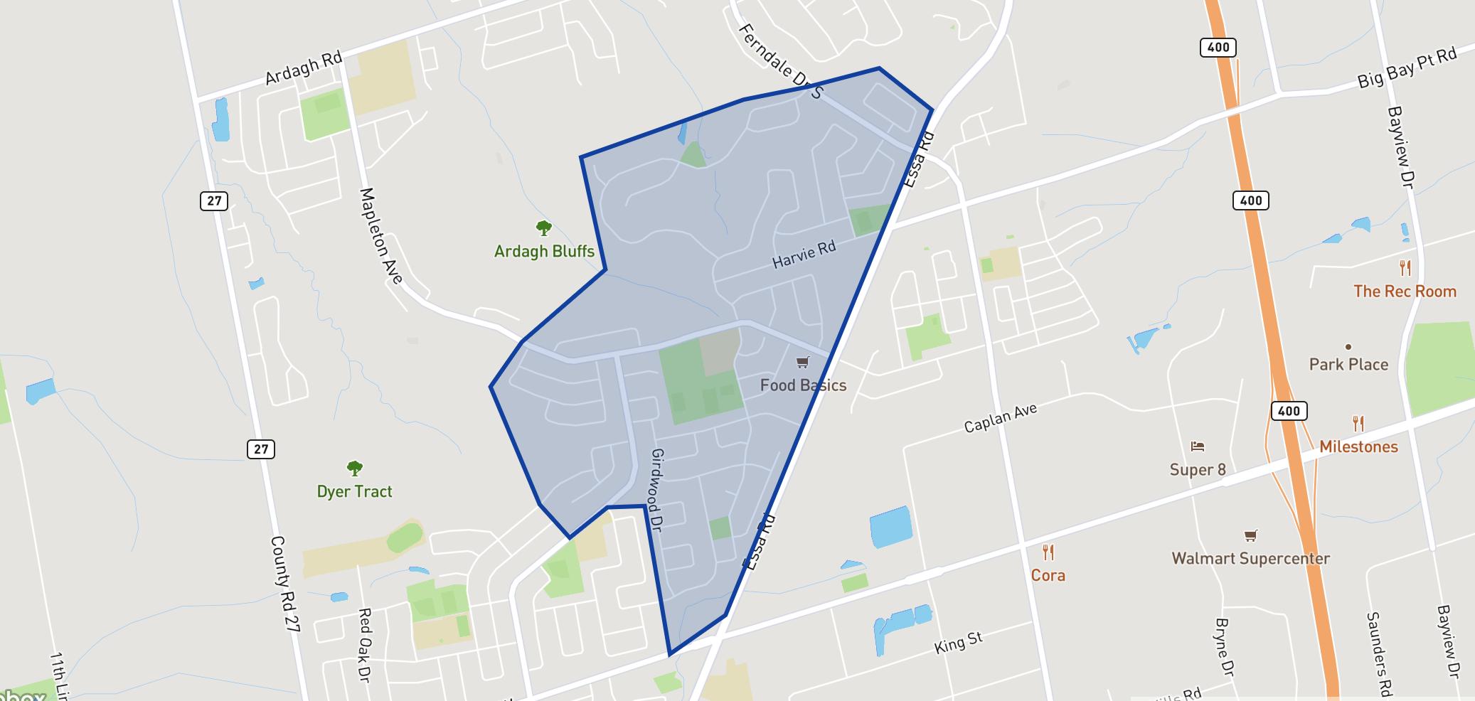 Holly Meadows Elementary School  neighbourhood borders