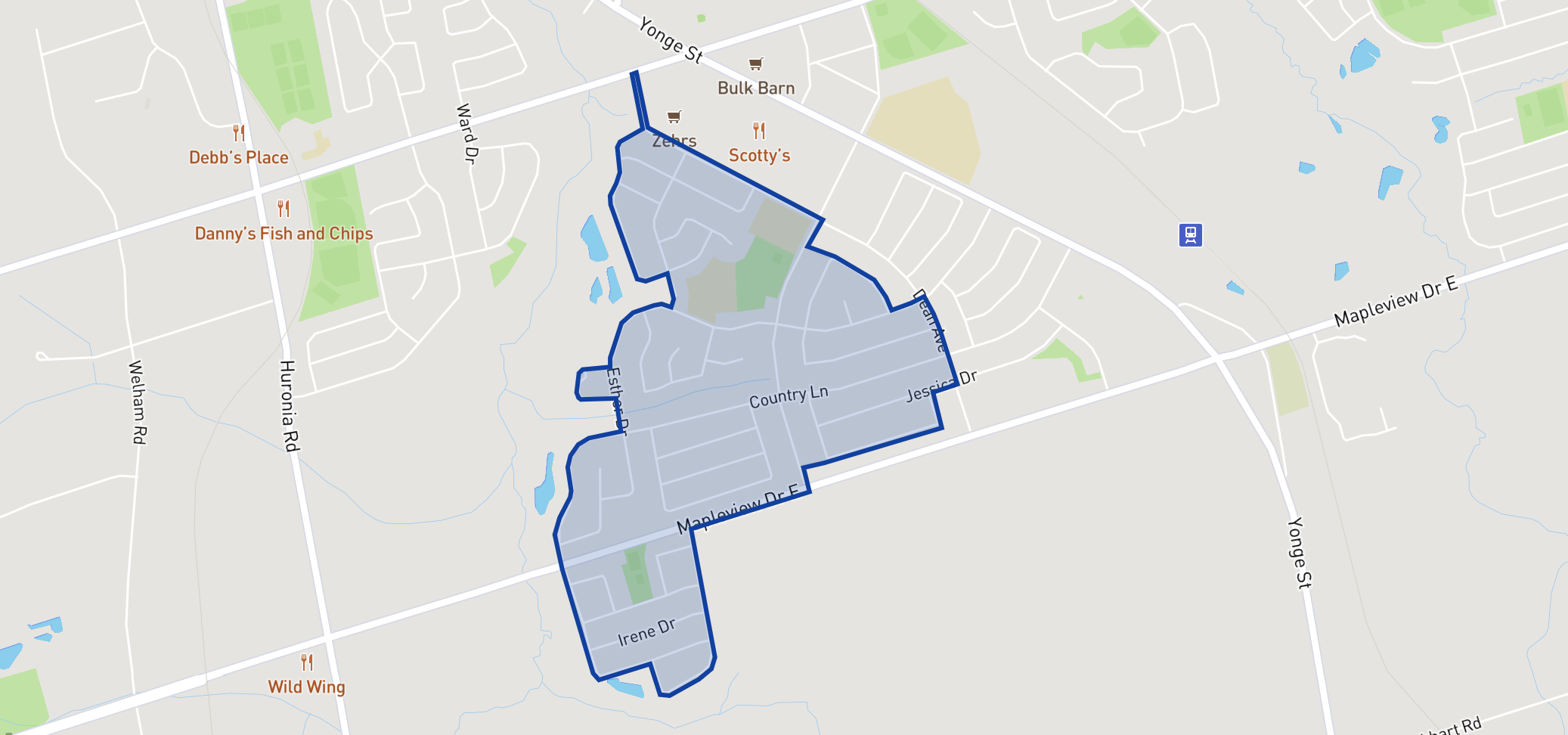 Mapleview Heights Elementary School neighbourhood borders