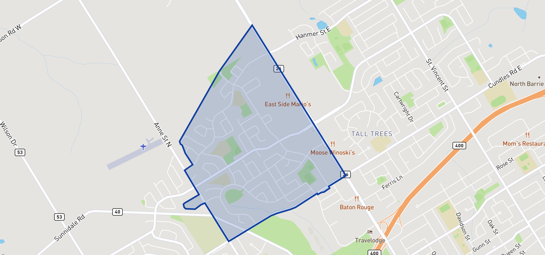 West Bayfield Elementary School  neighbourhood borders