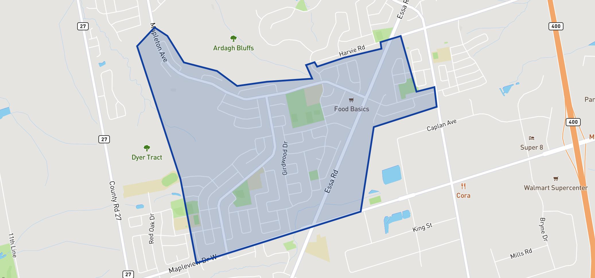 St Bernadette Elementary School neighbourhood borders